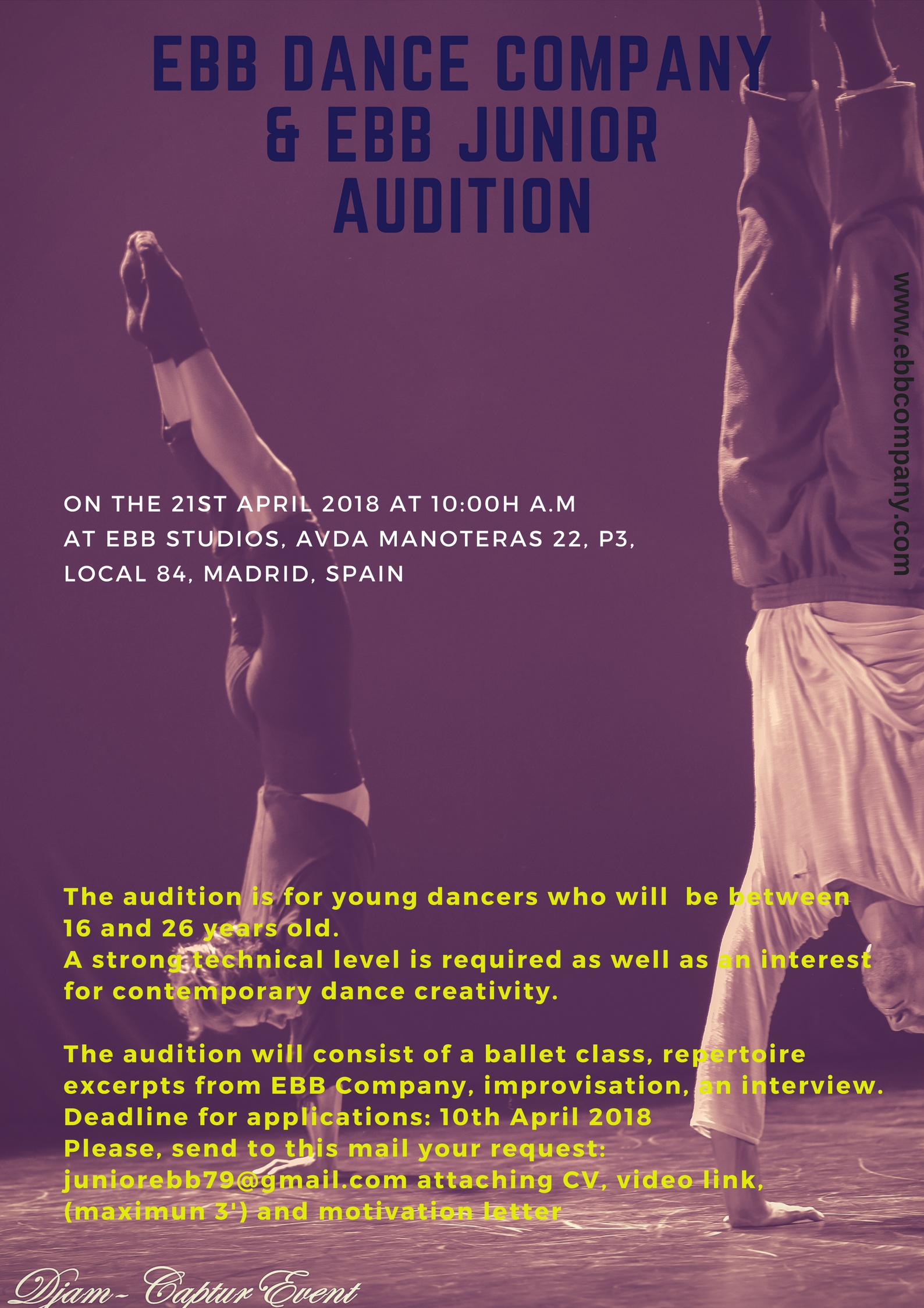 AUDITION EBB  STUDIO FORMATION & JUNIOR COMPAGNIE